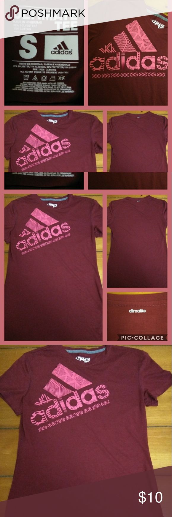 Adidas women's red and pink ultimate tee vneck Adidas women's red and pink ultimate tee/ V- neck, says Adidas on front and climalite in silver on the back of neck. In a size small. excellent condition! adidas Tops Tees - Short Sleeve