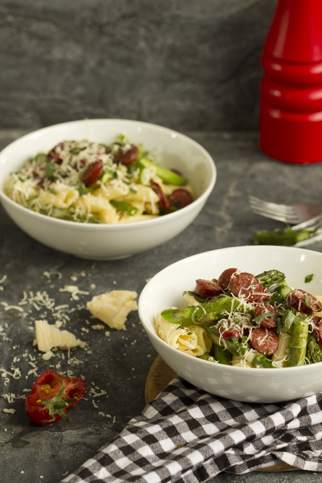 Spicy sausage and asparagus cabonara: My pasta dish is a take on the traditional carbonara.