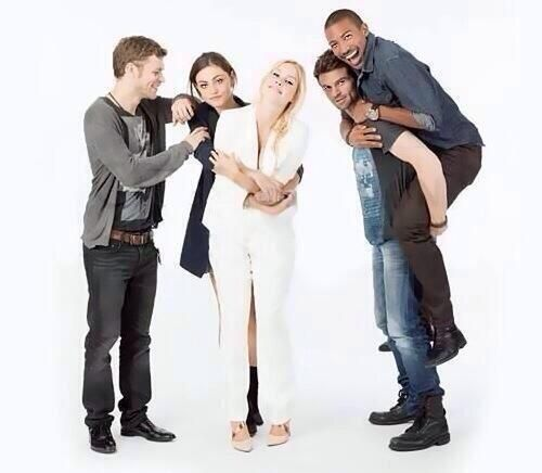 The Originals cast. What the heck are Elijah and Marcel doing?!?