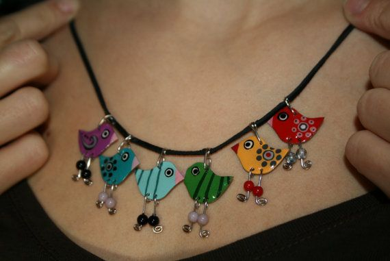 Rainbow enameled bird charm dangle necklace by HorakovaDesigns, $35.00