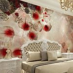JAMMORY White Jade Carving Large Flower Decor 3D Fashion Wallpaper Personality Wallpaper Mural  Wall Covering Canvas Material Golden ChurchXL XXL XXXL 2017 - $105.99