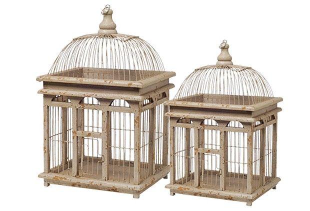 Antiqued Bird Cage, Set of 2 - Cream - From Antiquefarmhouse.com - http://www.antiquefarmhouse.com/antiqued-bird-cage-set-of-2-cream.html...46.00