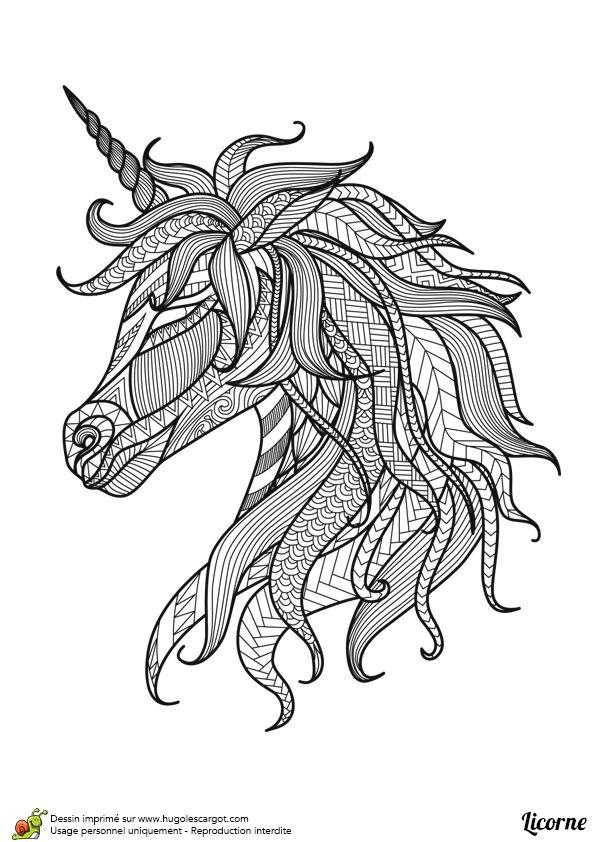 Portrait d'une tête de licorne mandala, à rendre vivant avec quelques coups de pinceau                                                                                                                                                      Plus