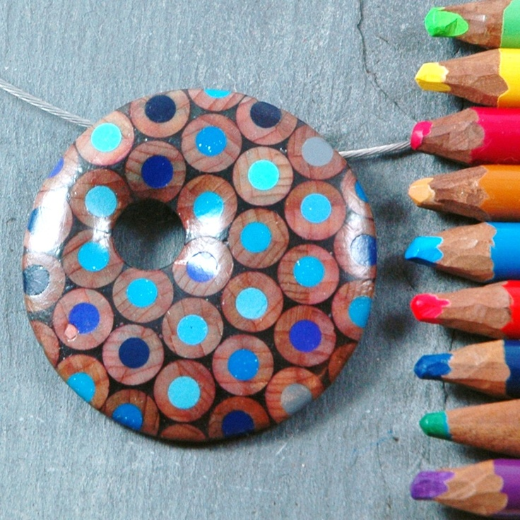 Not sure how this is done yet, but it's a fun way to upcycle the ends of colored pencils.