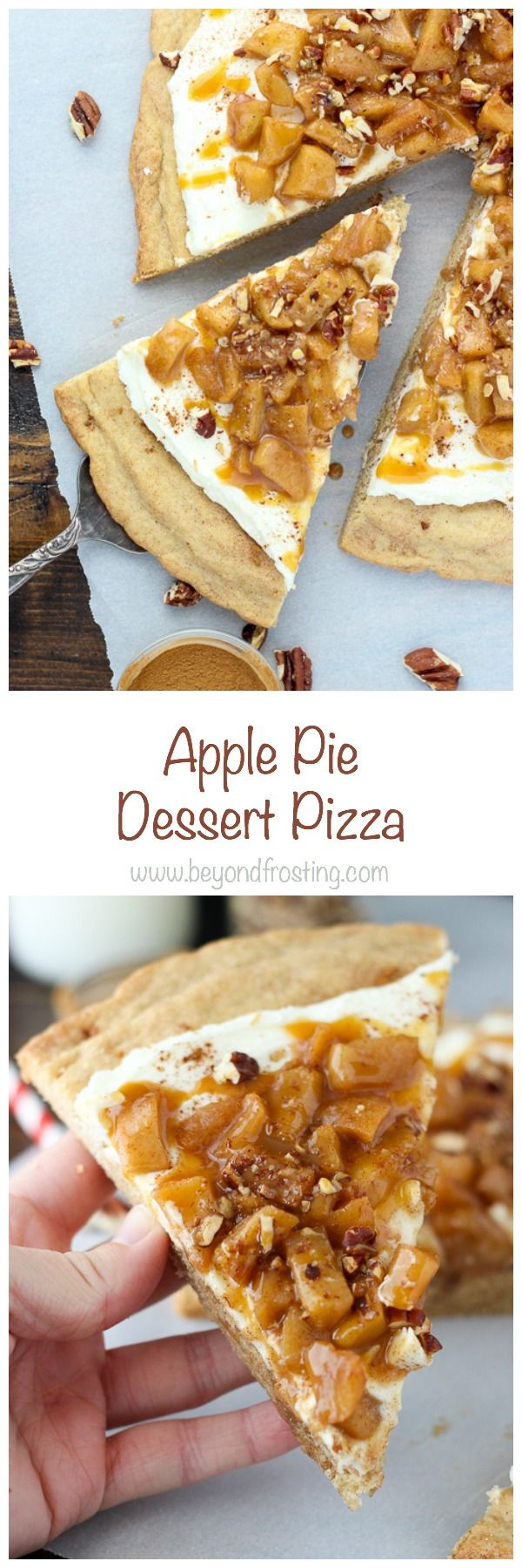 Enjoy fall with Apple Pie Dessert Pizza. It's a giant snickerdoodle cookie…