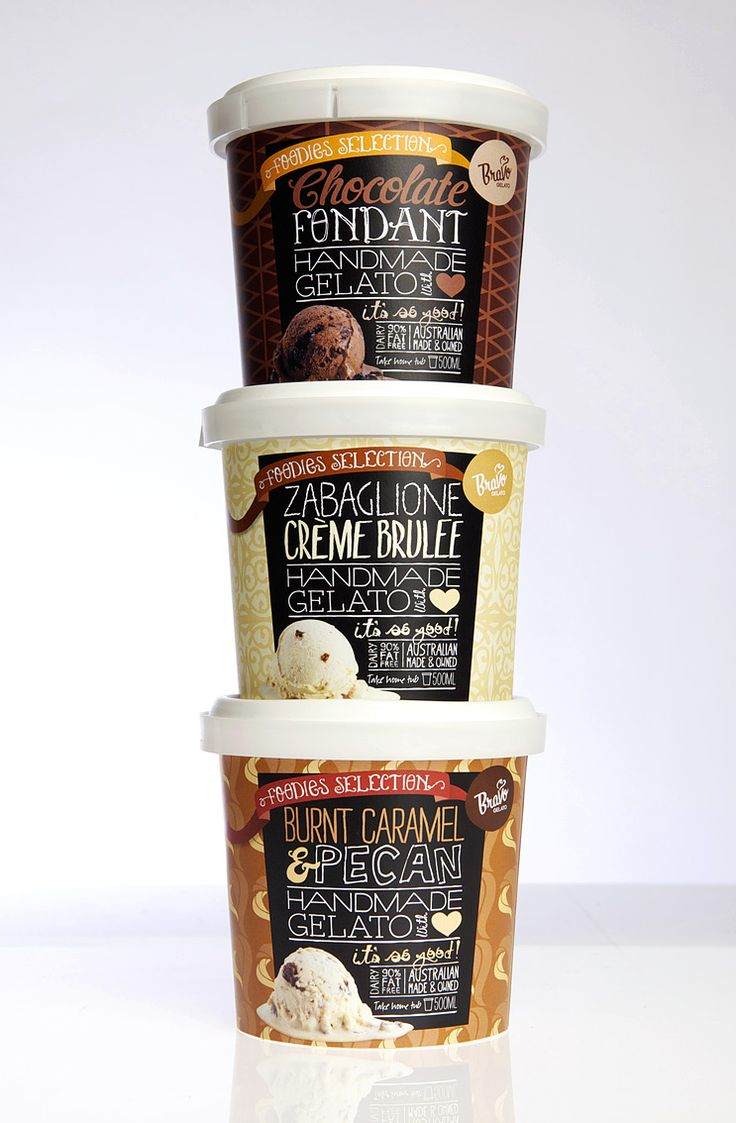A range of quirky packaging design for boutique gelato company Bravo.