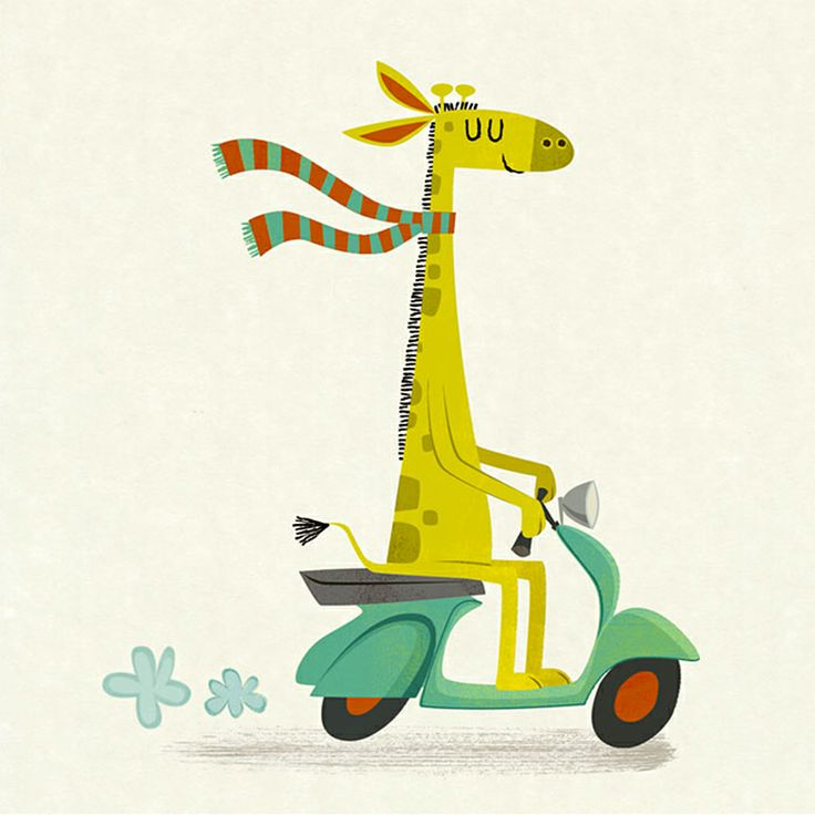 giraffe on a moped/ michael robertson