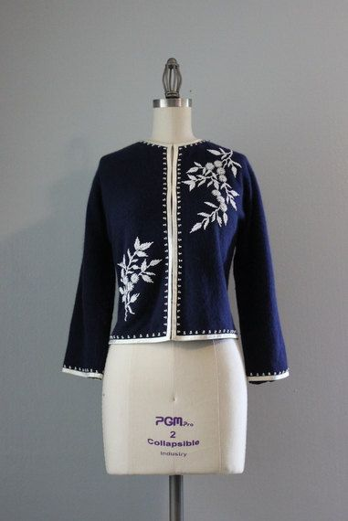 50s Beaded Cardigan / Vintage 1950s Navy Wool by HolliePoint, $58.00