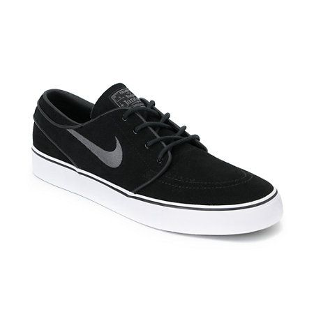 The Nike Stefan Janoski skate shoe in the black and graphite grey colorway  are ready to skate right out of the box on day The Stefan Janoski Nike skate  ...
