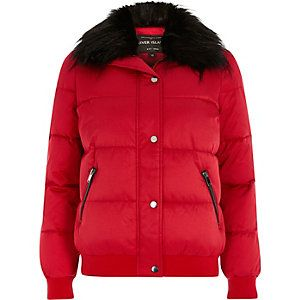 Red faux fur trim padded jacket