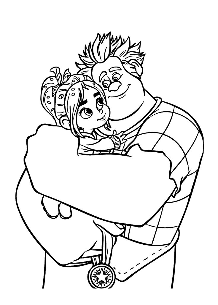 Ralph and Vanellope coloring pages for kids, printable ... | printable coloring book for kids.