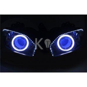 Yamaha R6 Angel Eye HID Projector Custom Headlight Assembly 1999 2000 2001 2002