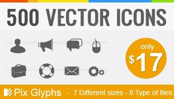 500 Royalty-Free Glyph Icons Priced @ $17 Only