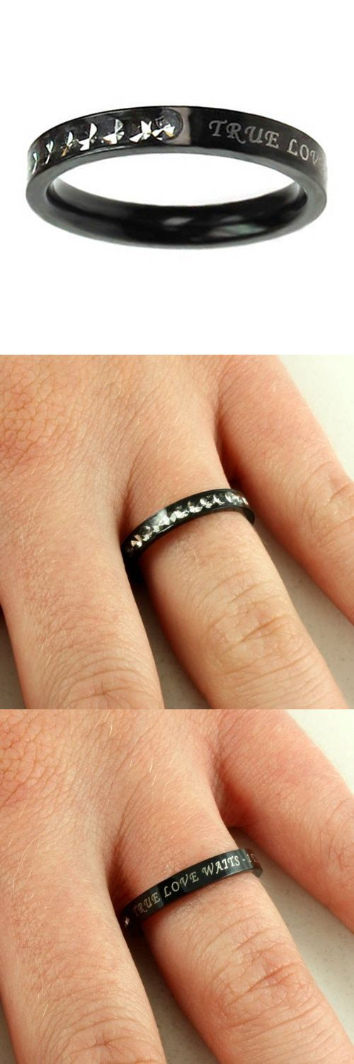 Christian Women's Ebony Black Stainless Steel Absitnence Princess Cut True Love Waits 1 Timothy 4:12 Comfort Fit 3mm Cubic Zirconium Chastity Ring for Girls - Girls Purity Ring - Stackable - Stainless steel petite band with ebony high gloss finish and 12 clear cubic zirconium encased stones covering 1/3 of the face while remaining 2/3 reveal electro-plated scripture True Love Waits - 1 T... - Stacking - Jewelry -