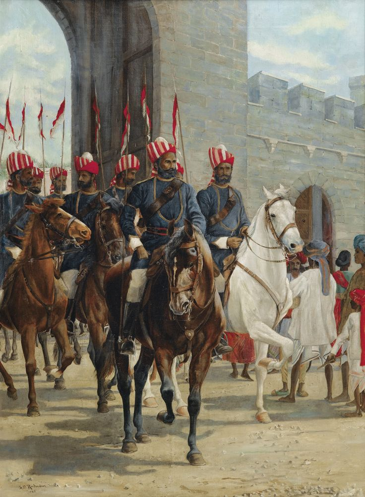 Attributed to George Derville Rowlandson 1861 - 1928, ENGLISH SCHOOL CAVALIERS SORTANT PAR UNE PORTE FORTIFIÉE ATTRIBUTED TO GEORGE-DERVILLE ROWLANDSON; CAVALIERS COMING OUT OF A FORTIFIED GATE; SIGNED AND DATED LOWER LEFT 1888; OIL ON CANVAS Signed and dated lower left GD Rowlandson 1888 Oil on canvas  83.5 x 61 cm; 32 7/8 by 24 in: