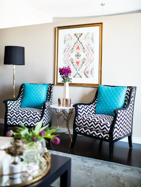 Brilliant blue accent pillows in Beth Haley Design's mid-town high rise.