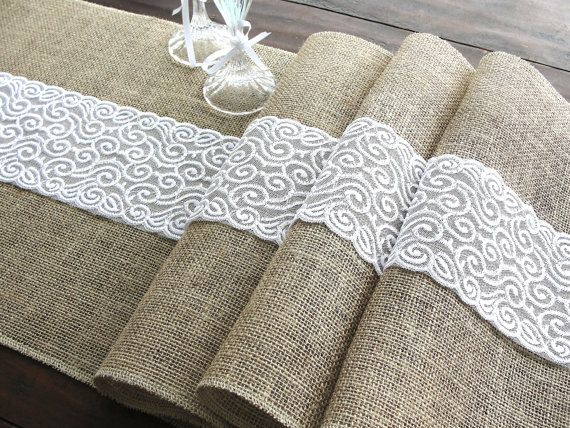 Burlap table runner  white lace rustic table by HotCocoaDesign, $22.00