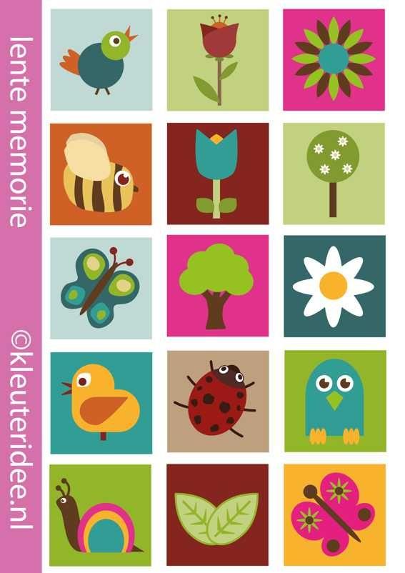 Het is lente, memorie voor kleuters, kleuteridee.nl , spring memory, free printable.