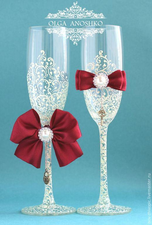 """Купить Свадебные бокалы """"Красивая пара"""". Роспись. - бокалы для свадьбы, бокалы для молодоженов, свадебные бокалы"""