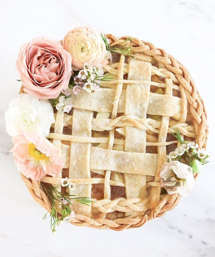 Beautiful flower decorated pie