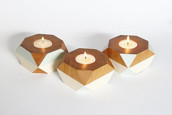Geometric Wooden Candle Holder by LittleLambCraft on Etsy, $19.00