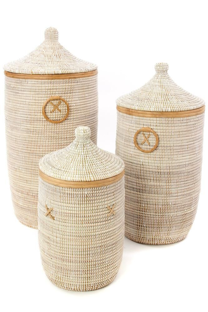White Hampers With Tan Leather Trim Set Of Three In 2020