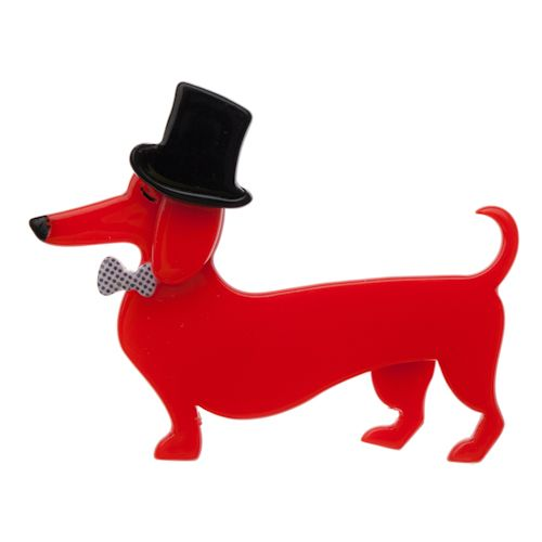 Limited edition, original Erstwilder Pierre and the Dancing Hat brooch in red. Designed by Louisa Camille Melbourne. Buy now