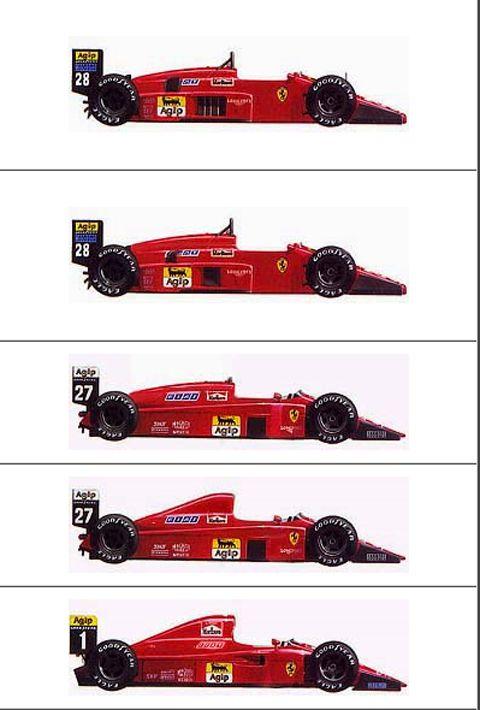 ferrari f1 cars 1985 1990 Evolución estética de los Ferrari de F1