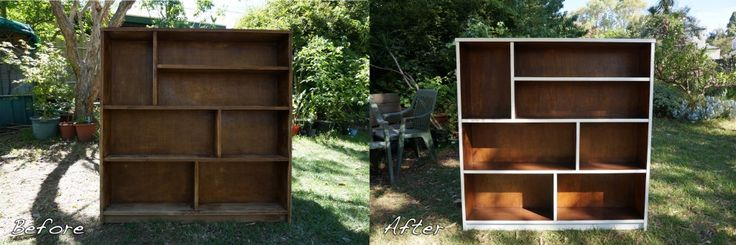 Wooden Bookcase Before & After Wooden bookcase D.I.Y. -Tutorial on how you can do this too