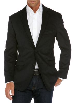 Madison Men's Big And Tall Black And Wine Pattern Sport Coat - Black - 52 Regular