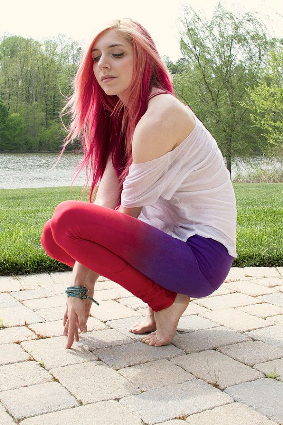 Yoga pantaloni rosso porpora mano tuffo tinti Leggings, damigelle regalo, regali per ragazze