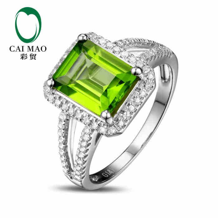 CaiMao 18KT/750 White Gold 2.1 ct Natural Green Peridot &  0.28 ct Round Cut Diamond Engagement Gemstone Ring Jewelry