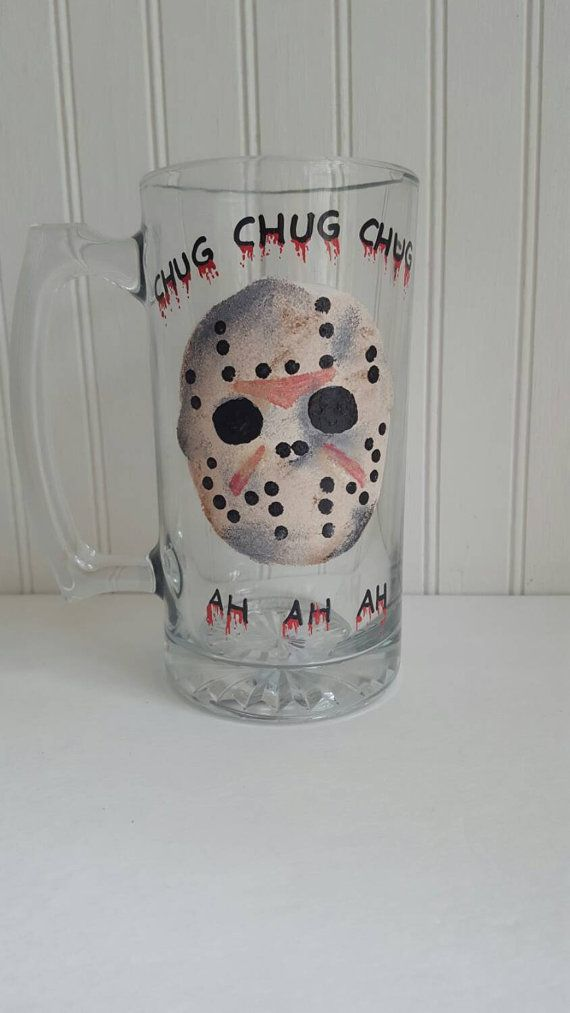 Hey, I found this really awesome Etsy listing at https://www.etsy.com/listing/250394083/halloween-glass-friday-the-13th-glass