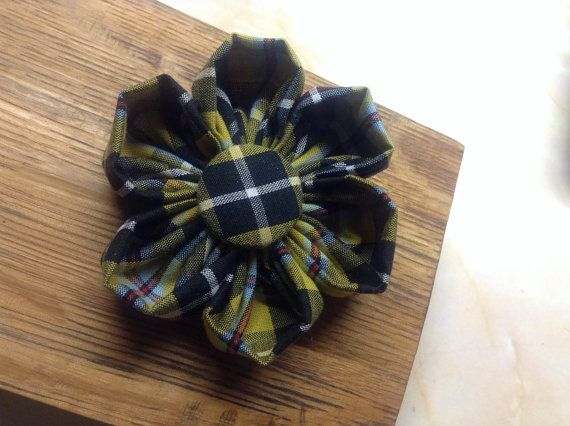 Cornish Tartan Fabric Brooch with handmade St Piran Flag button centre. Perfect for St Pirans day in March in Cornwall.
