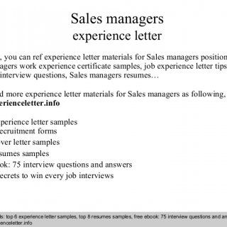 Interview questions and answers – free download/ pdf and ppt file Sales managers experience letter In this file, you can ref experience letter materials for. http://slidehot.com/resources/sales-managers-experience-letter.46078/