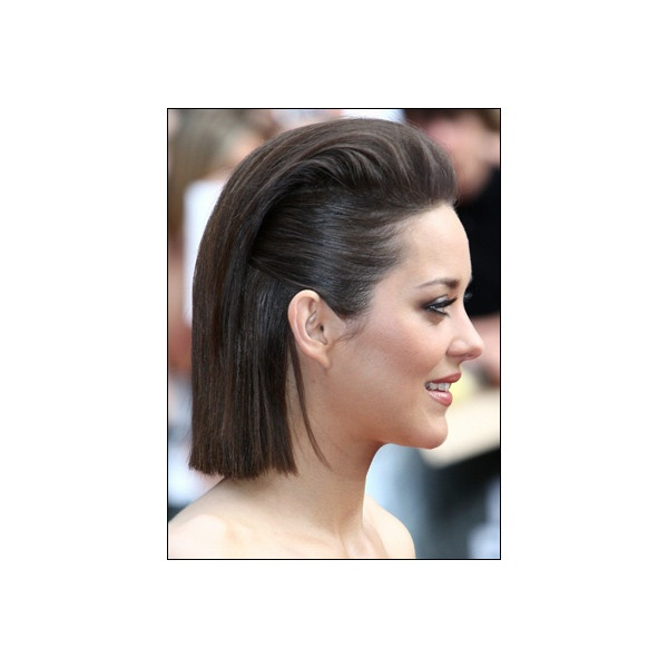 Marion Cotillard's Pulled Back Straight Bob Hairstyle ❤ liked on Polyvore