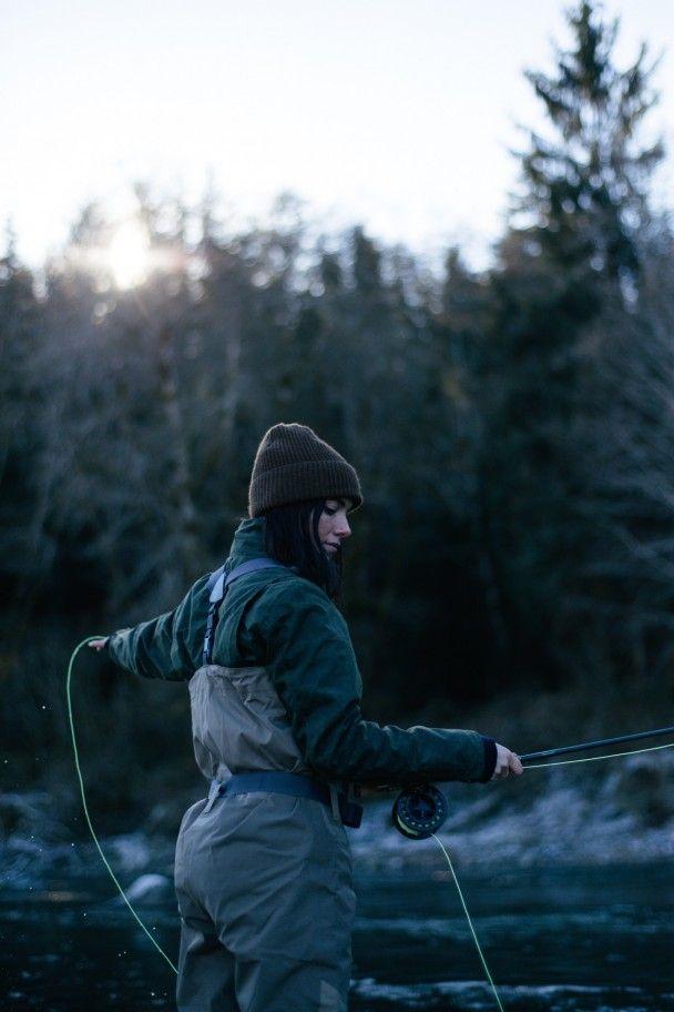 Women fishing in snow #15