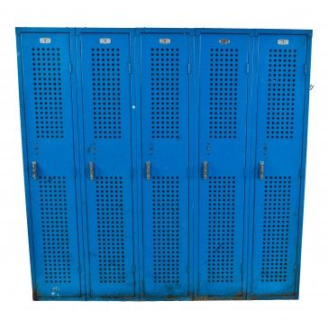 Original Industrial Pressed And Folded Multi Door Blue Painted Factory  Lunchroom Lockers With Distinctive Perforations