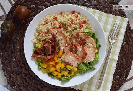 Ensalada de pollo, quinoa y cogollos - Vitónica