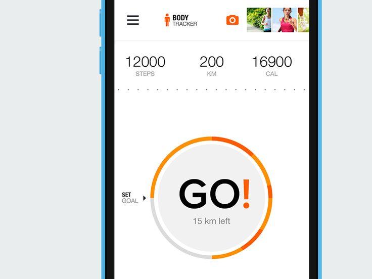 'Pedometer for Sport.com by Vital Voronovich' - Nice, modern white UI.