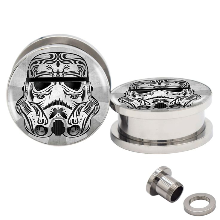 Find More Body Jewelry Information about 2pcs 6MM 20MM Star Wars Storm Trooper Logo Screw Fit Stainless Steel Ear Gauges Plugs And Flesh Tunnels 2G 1'' Piercing Jewelry ,High Quality gauge plug,China ear gauges plugs Suppliers, Cheap flesh tunnel from DreamFire Store on Aliexpress.com