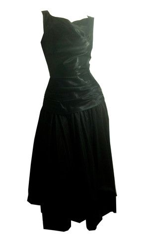 Elegant Black Satin and Taffeta Sculpted Cocktail Dress circa 1960s - Dorothea's Closet Vintage