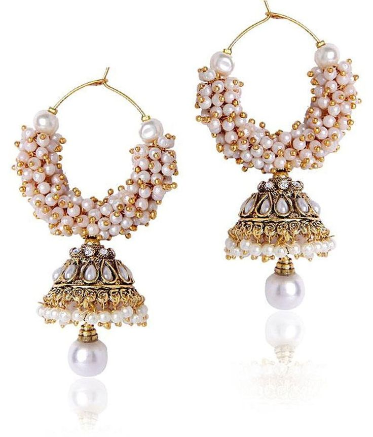 Amazing White Pearl Gold Plated Bollywood Indian Women S Jhumki Earring