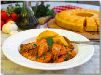 Croatian style shrimp with polenta