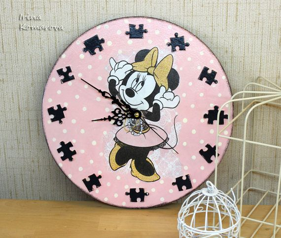 Minnie Mouse clock, Disney clock, wooden clock, hand made decoration clock, decoupage, pink and gray