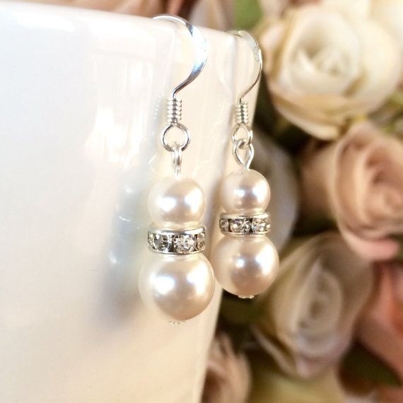 Sterling silver rhinestone and white swarovski pearl earrings by Colour and Sparkle. Wedding jewellery, bridal jewellery