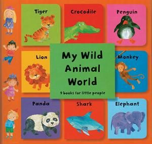My Wild Animal World. One of my new favorite sets! Read them, stack them, match them. Help your little one learn their colors and animals. Each book has the name of the animal, where it lives, what it's baby is called, what it eats and what sound it makes.
