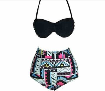 $32 Tribal Vintage Inspired High Waist Bathing Suit