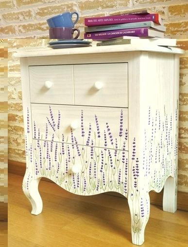 Lavender Side Table Just Painting Furniture Pinterest Hand Painted And Decoupage
