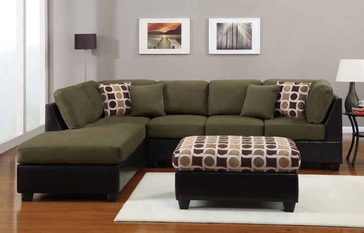 Furniture. olive green l shaped couch with chaise and cushion plus square ottoman over white carpet on beige wooden floor . Amazing L Shaped Sofa For Small Apartment
